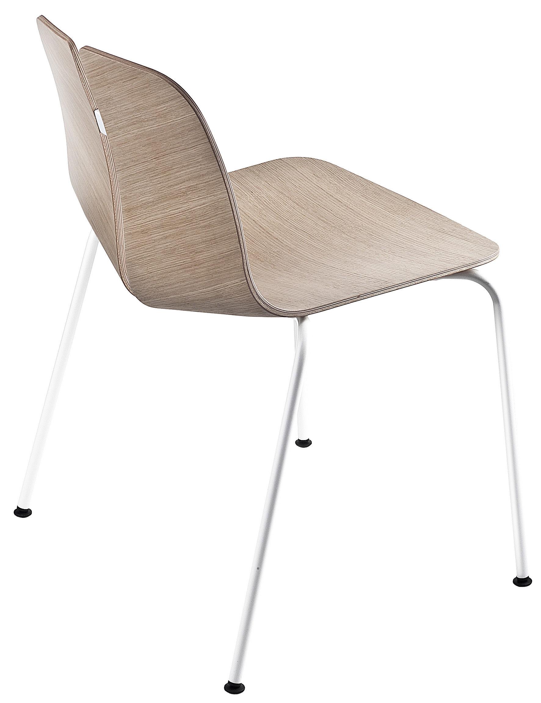 Möbel - Stühle  - Link Stapelbarer Stuhl / Holz - Lapalma - Eiche gebleicht / Fußgestell weiß lackiert - Laminé de bois plaqué, rostfreier lackierter Stahl