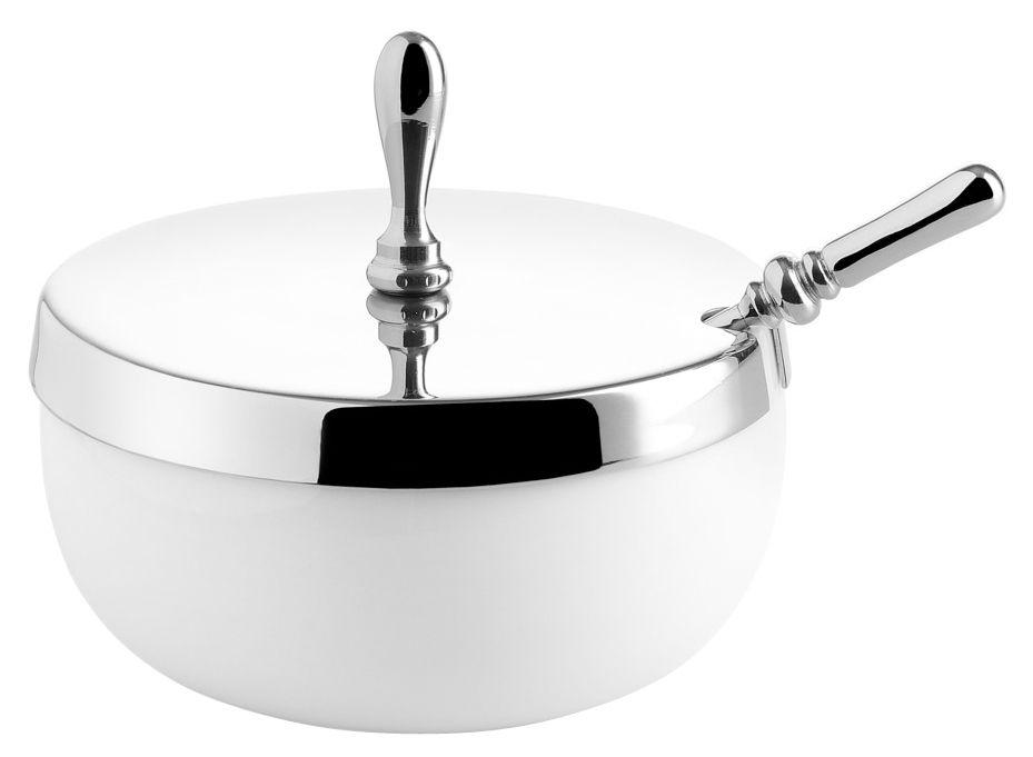 Cuisine - Sucriers, crémiers - Sucrier Dressed / Avec couvercle et cuillère - Alessi - Blanc / Acier - Acier inoxydable, Porcelaine