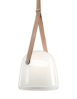 Luminaire - Suspensions - Suspension Mona / Verre - Brokis - Verre blanc opalin / Cuir naturel - Chêne teinté, Cuir naturel, Verre soufflé bouche