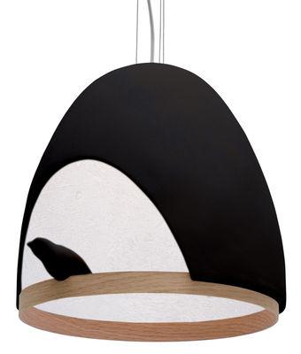 Luminaire - Suspensions - Suspension Oiseau / En plâtre - Compagnie - Noir / Interieur Blanc - Chêne, Plâtre