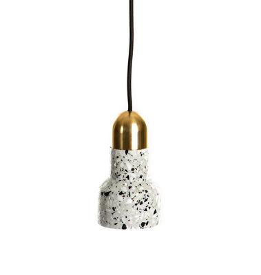 Suspension Terrazzo Luxe / Ø 9,6 x H 17,5 cm - XL Boom blanc,doré en pierre