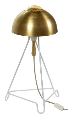 Lighting - Table Lamps - Studio Simple Table lamp by Serax - White / Brass lampshade - Brass, Lacquered metal, Wood