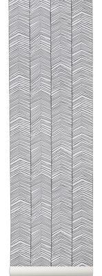 Dekoration - Stickers und Tapeten - Herringbone Tapete / 1 Bahn - B 53 cm - Ferm Living - Schwarz & Weiß - Leinen