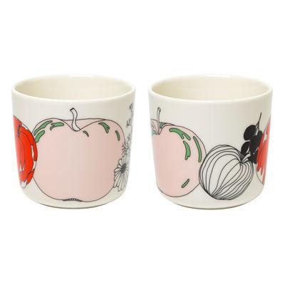Tavola - Tazze e Boccali - Tazzina da caffè Tarhuri - / Senza manici - Set di 2 di Marimekko - Tarhuri / Bianco, rosso, verde - Gres