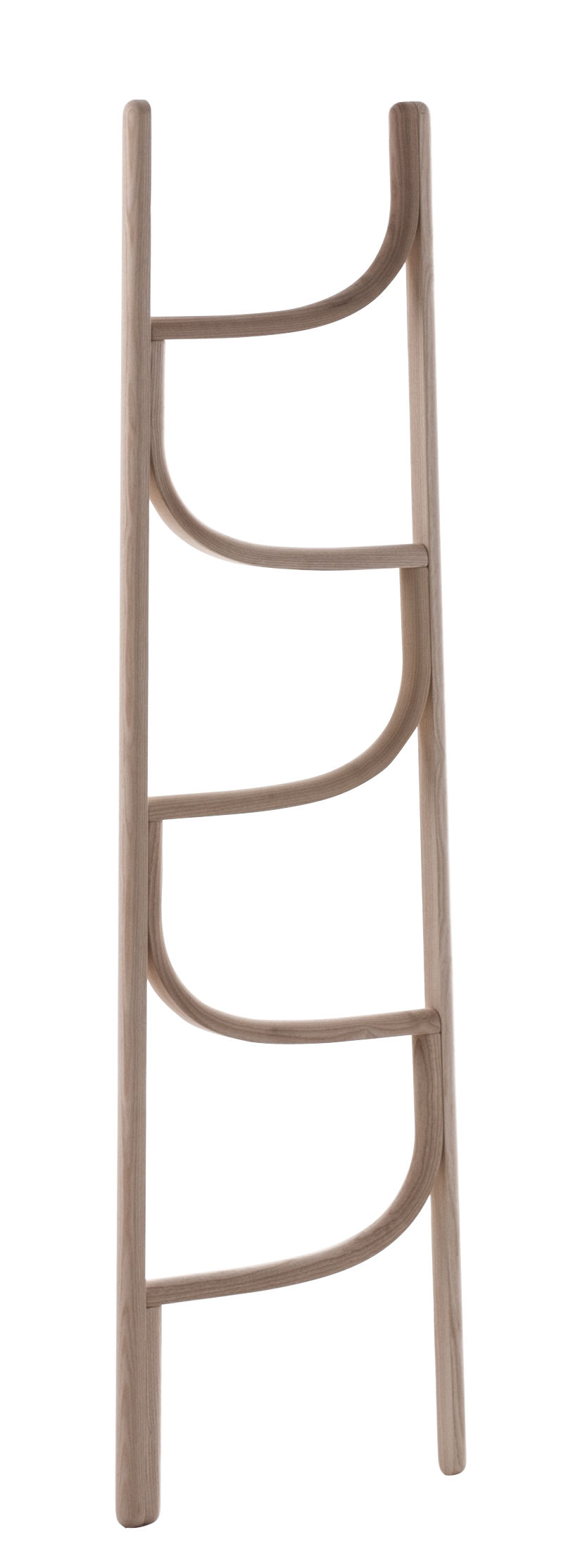 Furniture - Miscellaneous furniture - Ladder Towel rail - / Towel rail - H 160 cm by Wiener GTV Design - Natural wood - Curved solid ash