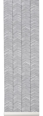 Decoration - Wallpaper & Wall Stickers - Herringbone Wallpaper - 1 panel - L 53 cm by Ferm Living - Black & white - Cloth
