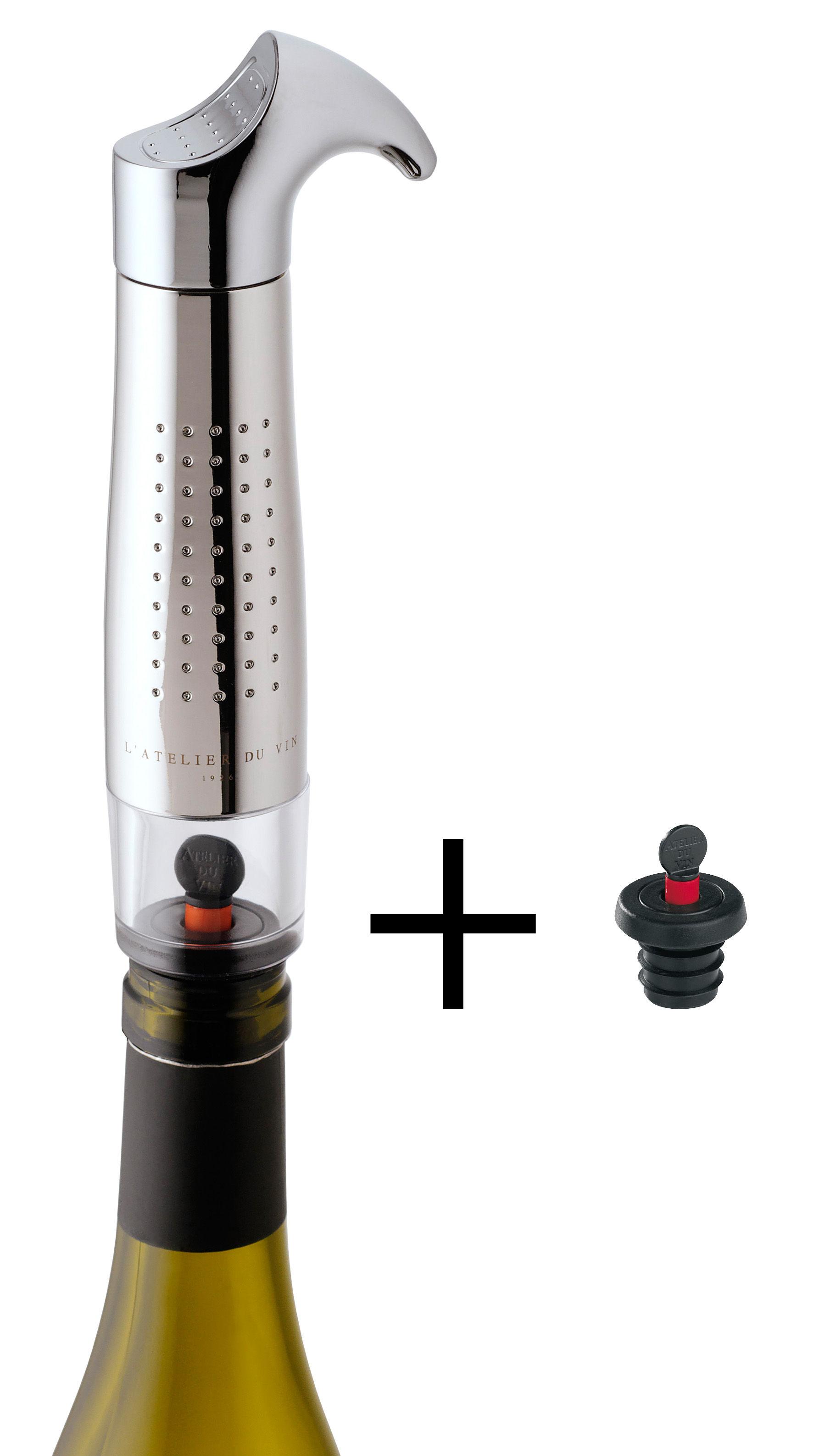 Tableware - Wine Accessories - Gard'vin On/Off Métal Air vacuum pump - Air vacuum pump (wine keeper) & 2 airtight sealers by L'Atelier du Vin - Metal - Metal, PVC