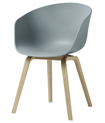 Furniture - Chairs - About a chair AAC22 Armchair - Plastic & wood legs by Hay - Light blue / Wood legs - Matt varnished oak, Polypropylene