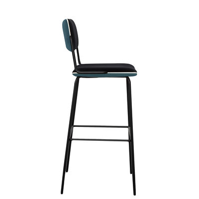 Furniture - Bar Stools - Double Jeu Bar chair - / H 76 cm - Padded by Maison Sarah Lavoine - Sarah blue / Black - Foam, Powder coated steel, Velvet