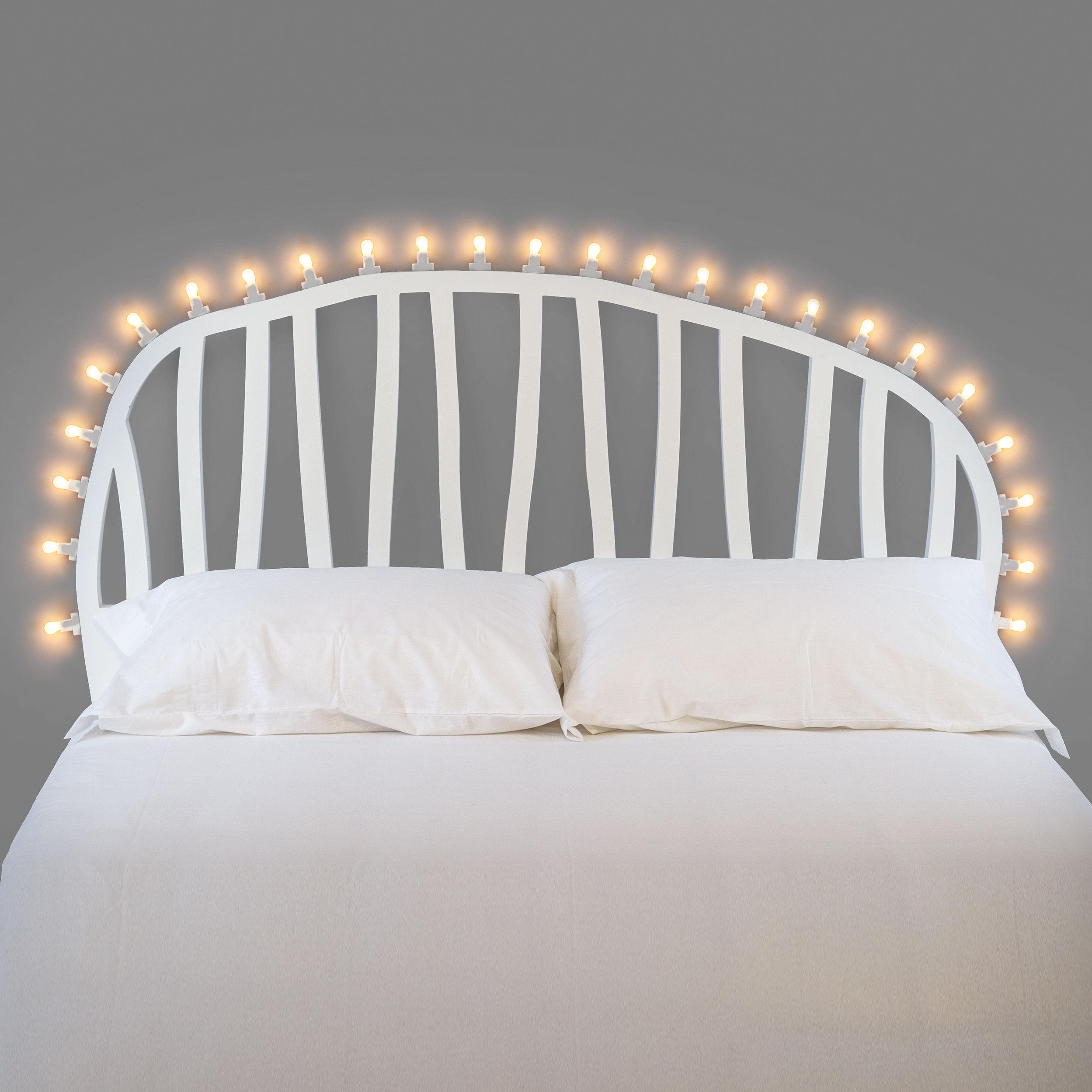 Möbel - Betten - Luminaire Bettkopf / L 170 cm - inkl. Leuchtmittel - Seletti - Weiß - mitteldichte bemalte Holzfaserplatte