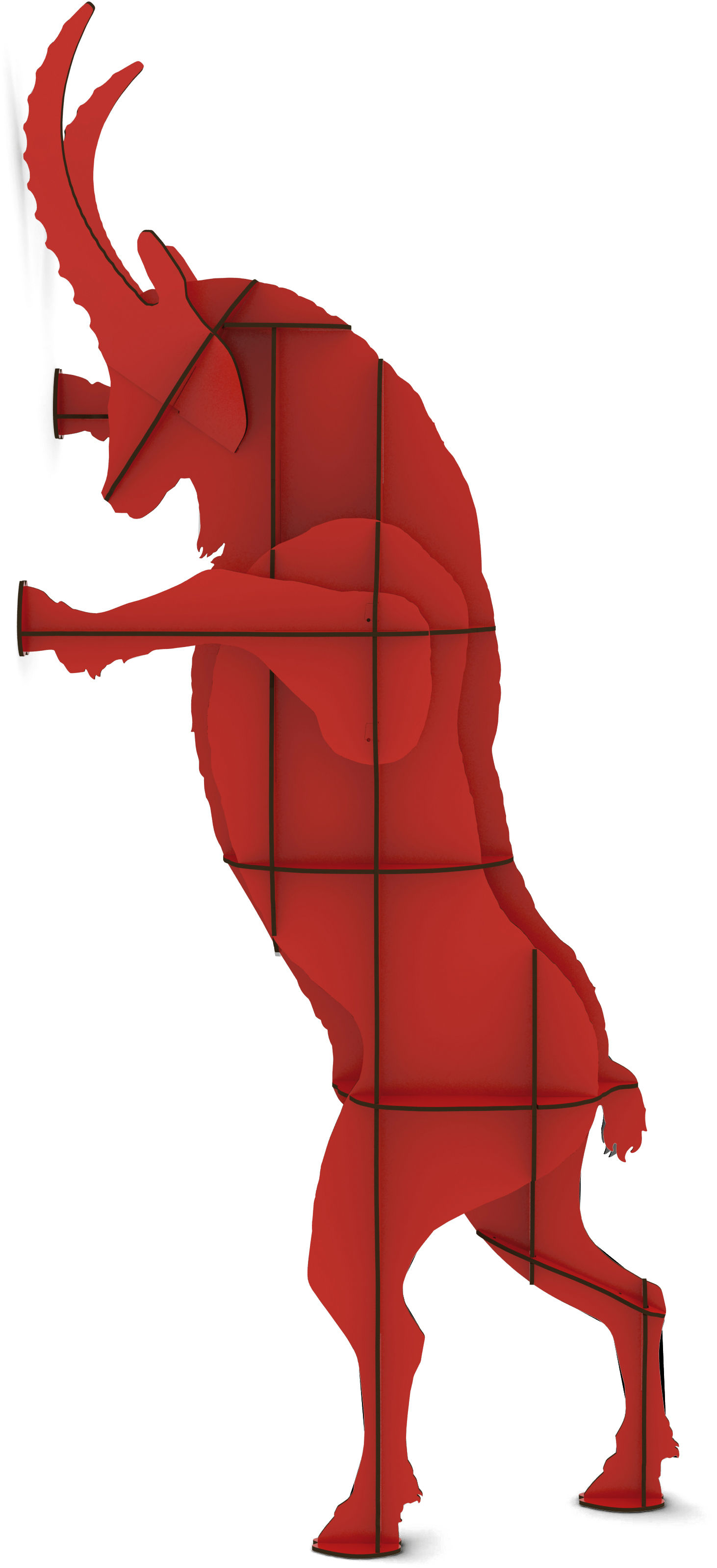 Mobilier - Etagères & bibliothèques - Bibliothèque Fausto / H 205 cm - Ibride - Rouge - Stratifié massif