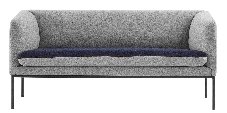 Mobilier - Canapés - Canapé droit Turn / L 160 cm - 2 places - Ferm Living - Gris clair / Bleu nuit - Coton, Métal laqué, Mousse, Polyester