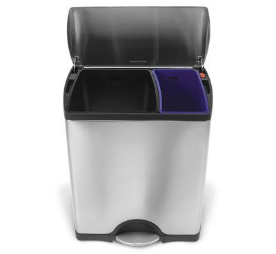Cucina - Cestini - Cestino per raccolta differenziata Deluxe Recycle - / Speciale differenziata - 46 litri di Simple Human - Acciaio - 46 Litri - Acciaio inossidabile satinato