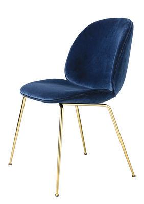Mobilier - Chaises, fauteuils de salle à manger - Chaise rembourrée Beetle / Gamfratesi - Velours - Gubi - Bleu / Pieds laiton - Acier plaqué laiton, Velours