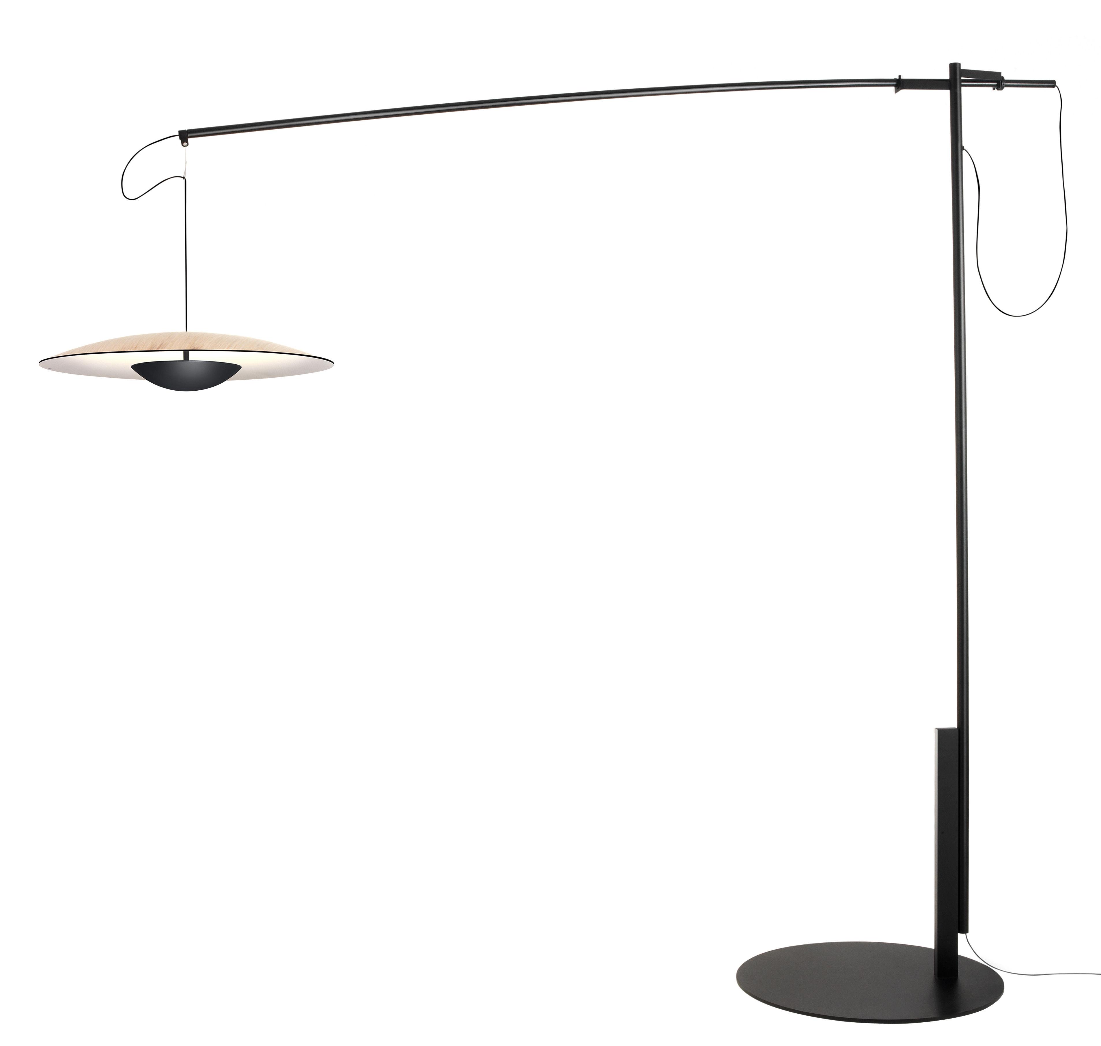 Lighting - Floor lamps - Ginger XL Floor lamp by Marset - Oak / Black - Carbon fibre, Metal, Plywood