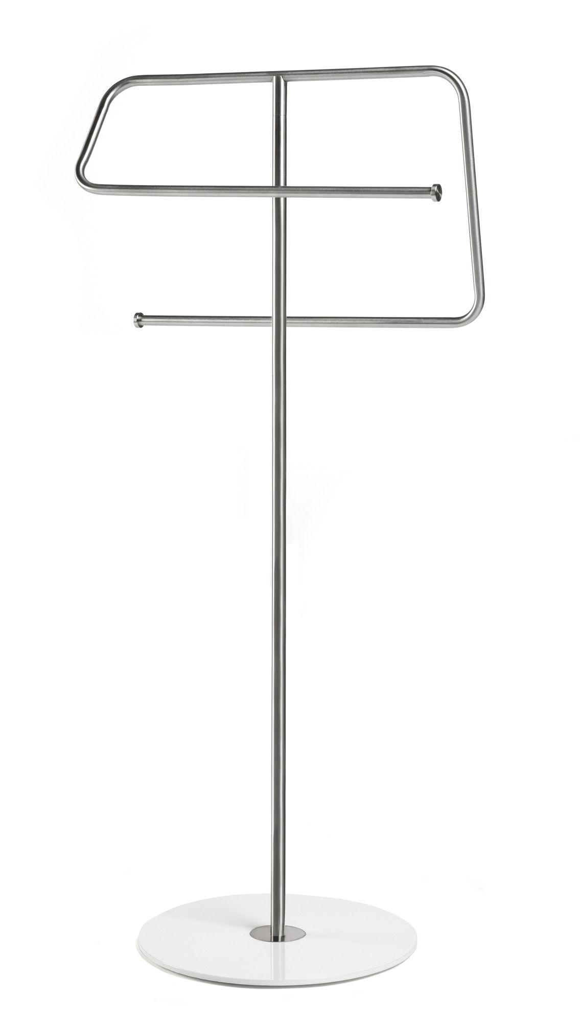 Dekoration - Badezimmer - Kali Handtuchhalter - Authentics - Stahl - Sockel weiß - rostfreier Stahl