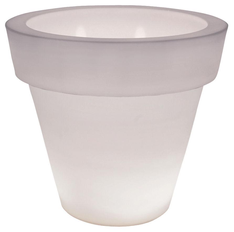 Möbel - Leuchtmöbel - Vas One Light leuchtender Blumentopf - Serralunga - Halb-transparentes Weiß - Polyäthylen