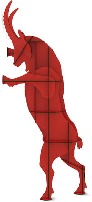 Arredamento - Scaffali e librerie - Libreria Fausto - H 205 cm di Ibride - Rosso - Laminato massello