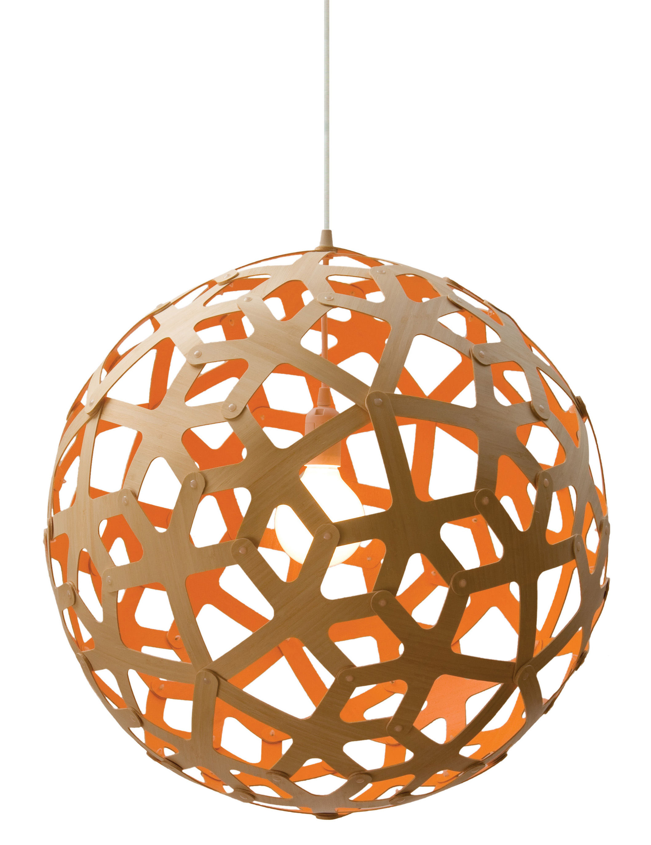 Lighting - Pendant Lighting - Coral Pendant - / Ø 60 cm - Bicoloured by David Trubridge - Orange / Natural wood - Pine