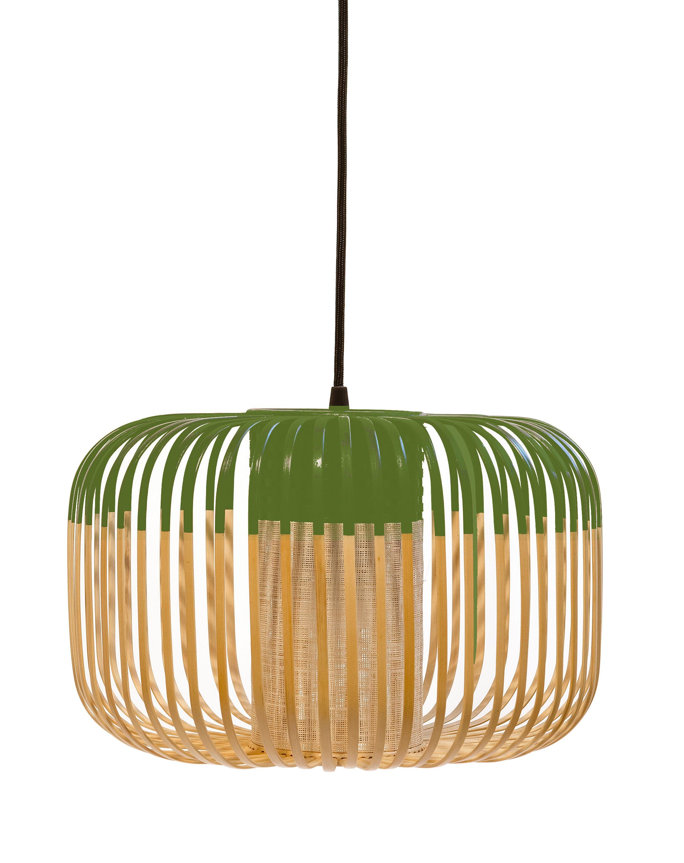 Leuchten - Pendelleuchten - Bamboo Light S Pendelleuchte / H 23 cm x Ø 35 cm - Forestier - Grün / natur - Gewebe, Metall, Naturbambus