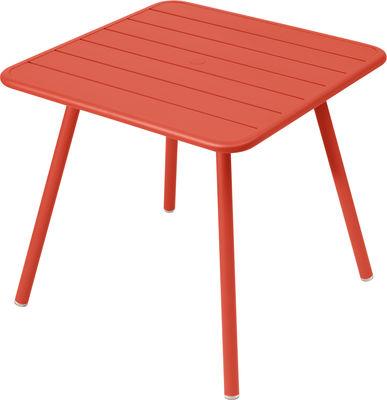 Outdoor - Gartentische - Luxembourg quadratischer Tisch / vier Tischbeine - für 2 bis 4 Personen - 80 x 80 cm - Fermob - Capucine - lackiertes Aluminium