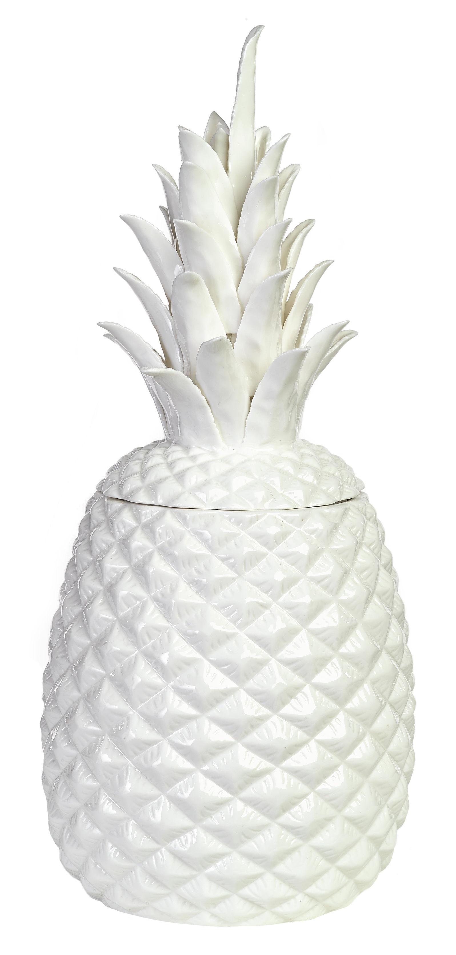 Interni - Scatole déco - Scatola Pineapple Large / Ø 18 x H 39 cm - Porcellana - Pols Potten - Bianco - Porcellana smaltata