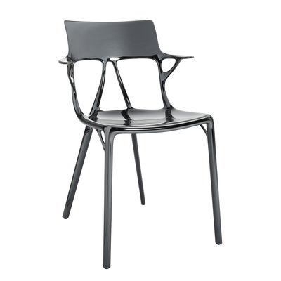 Furniture - Chairs - A.I Stackable armchair - metallic finish applied / Designed by artificial intelligence - 100% recycled by Kartell - Titanium - Recycled thermoplastic technopolymer
