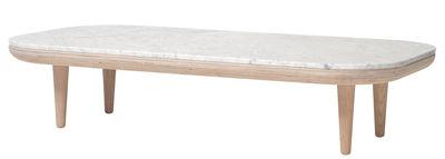 Table basse FLY / Marbre - 120 x 60 cm - &tradition blanc/bois naturel en bois/pierre