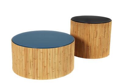 Mobilier - Tables basses - Table basse Riviera Duo / Set de 2 - Ø 60 & Ø 45 cm - Maison Sarah Lavoine - Noir & bleu - Bois laqué, Rotin naturel