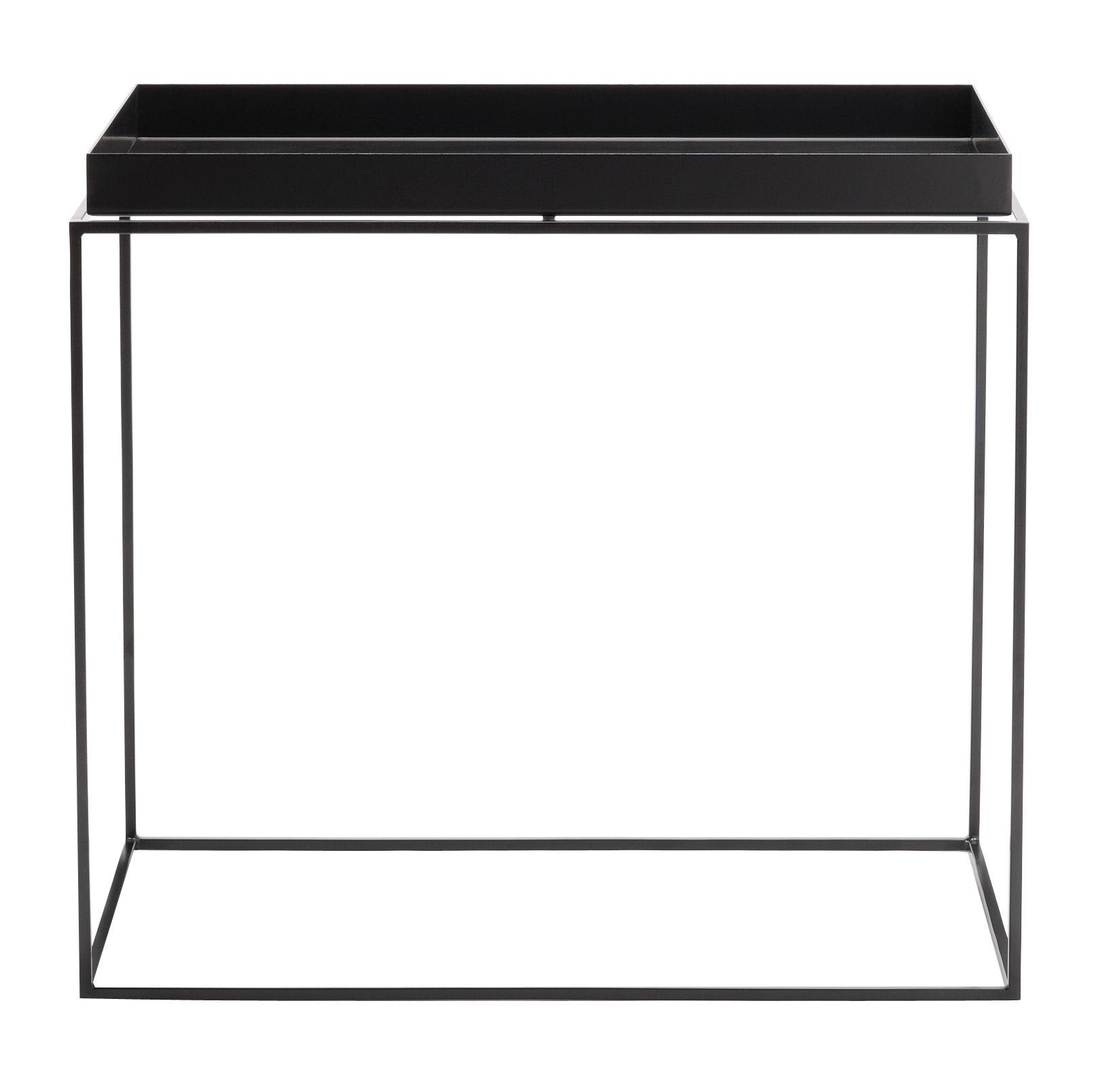 Mobilier - Tables basses - Table basse Tray H 50 cm / 60 x 40 cm - Rectangulaire - Hay - Noir - Acier laqué
