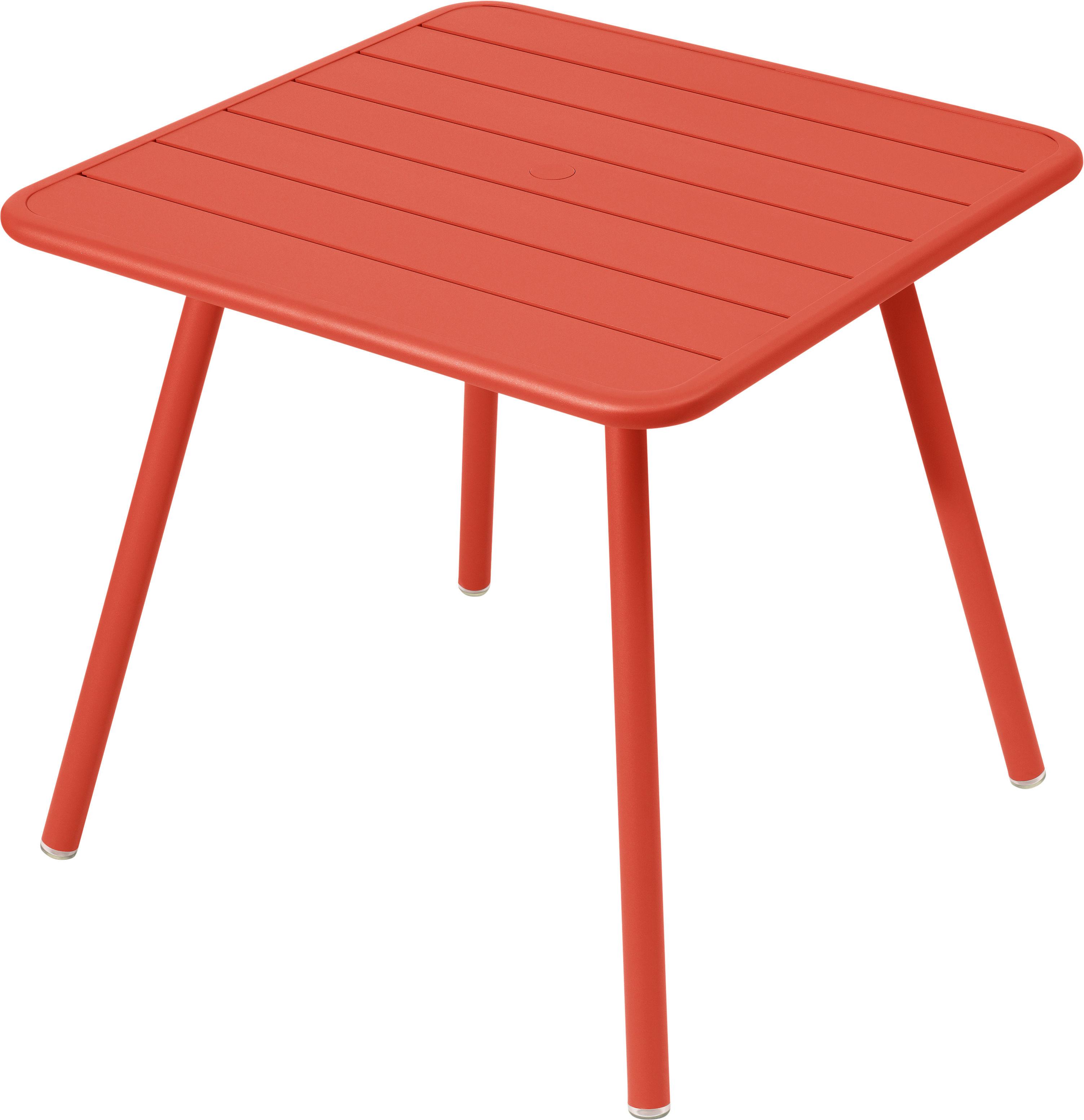 Jardin - Tables de jardin - Table Luxembourg / 80 x 80 cm - 4 pieds - Fermob - Capucine - Aluminium laqué