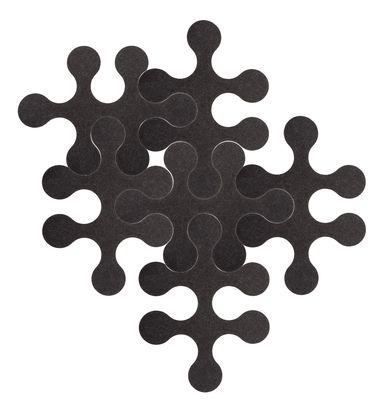 Arredamento - Tappeti  - Tappeto Molécules - 6 pezzi - Tinta unita grigio antracite di La Corbeille - Grigio antracite - Feltro riciclato