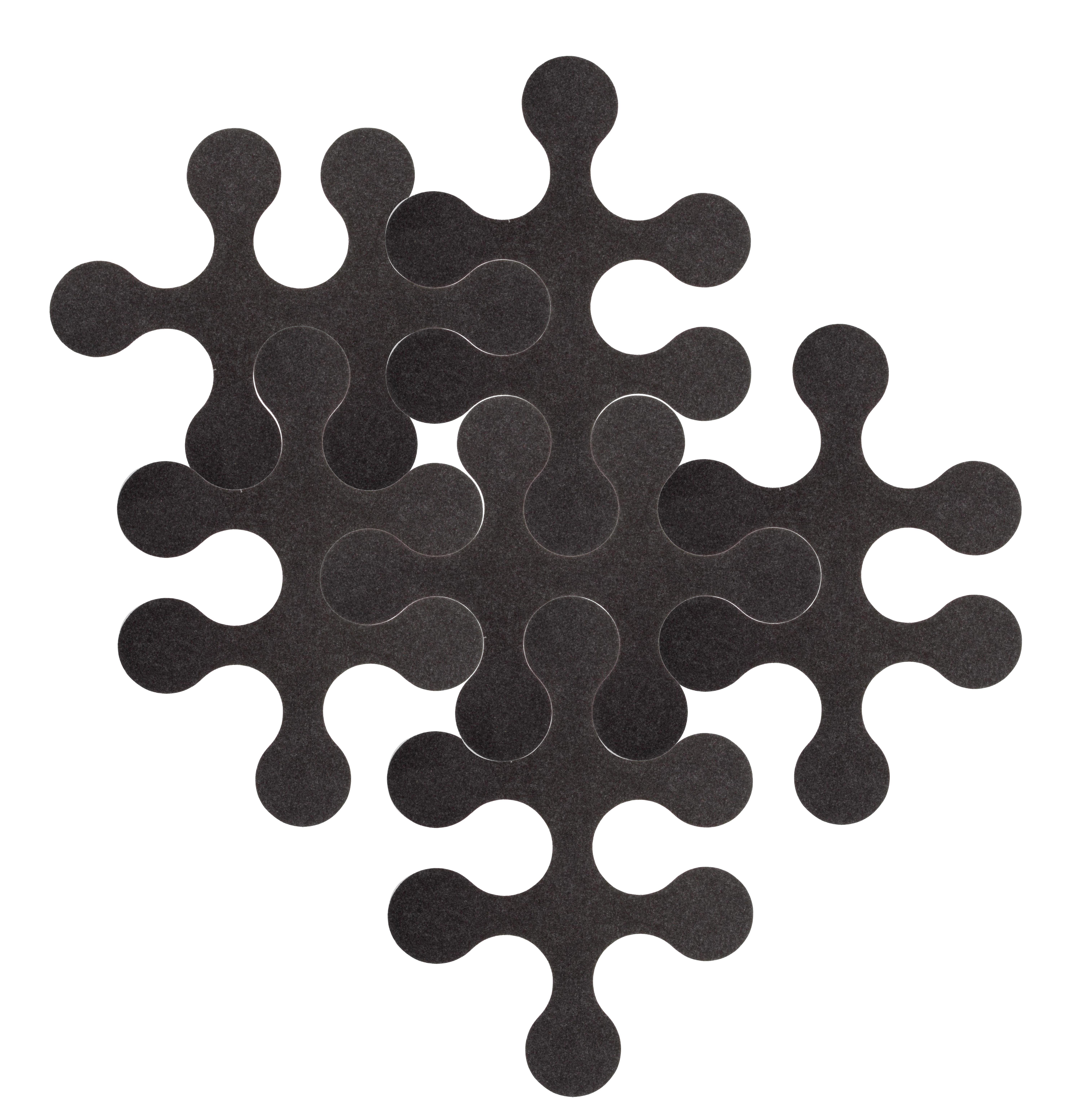 Arredamento - Tappeti  - Tappeto Molécules - 6 pezzi - Tinta unita grigio antracite di La Corbeille - Grigio antracite - Feltro