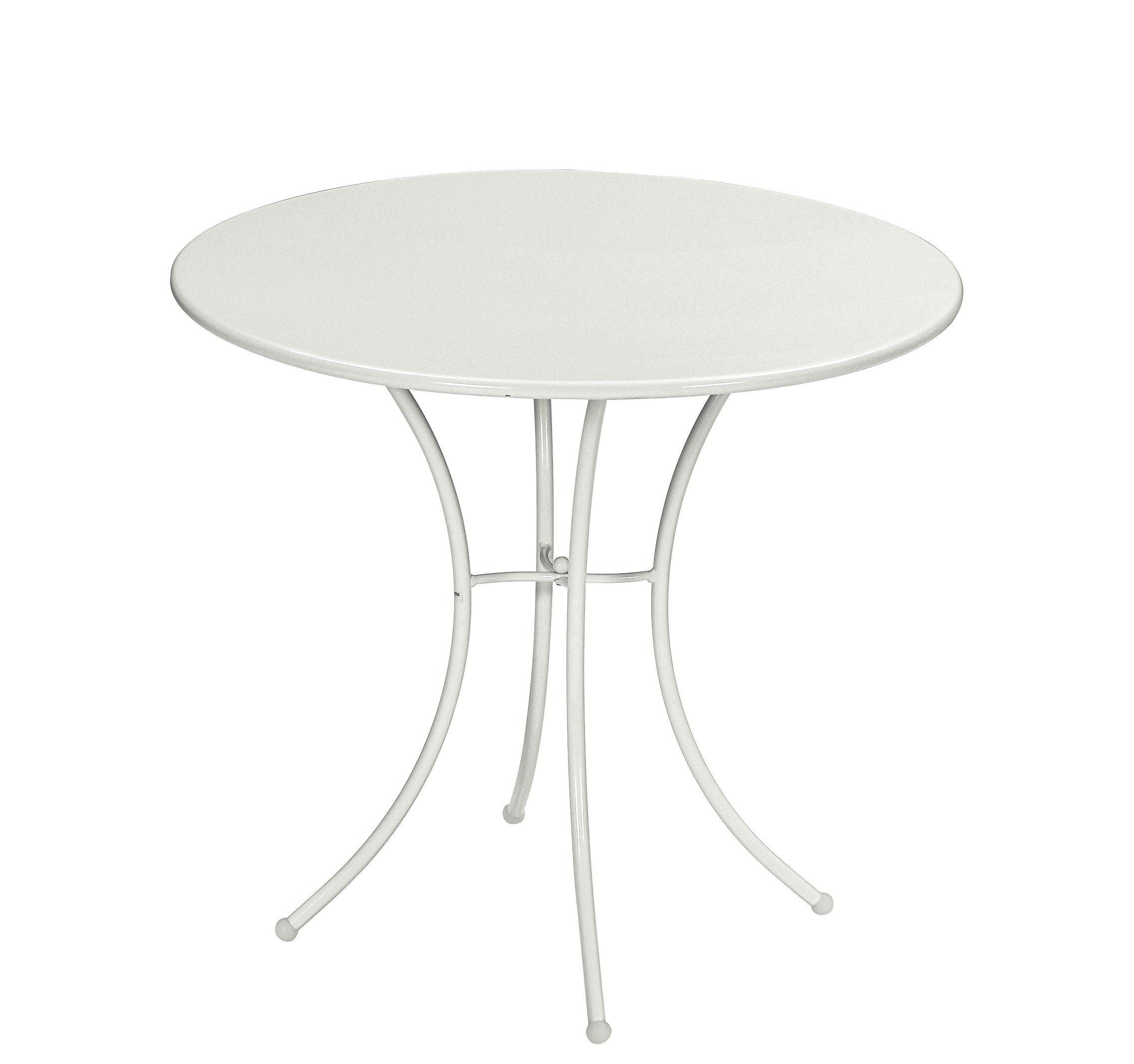 Outdoor - Tavoli  - Tavolo rotondo Pigalle - / Metallo - Ø 80 cm di Emu - Bianco - Acciaio verniciato