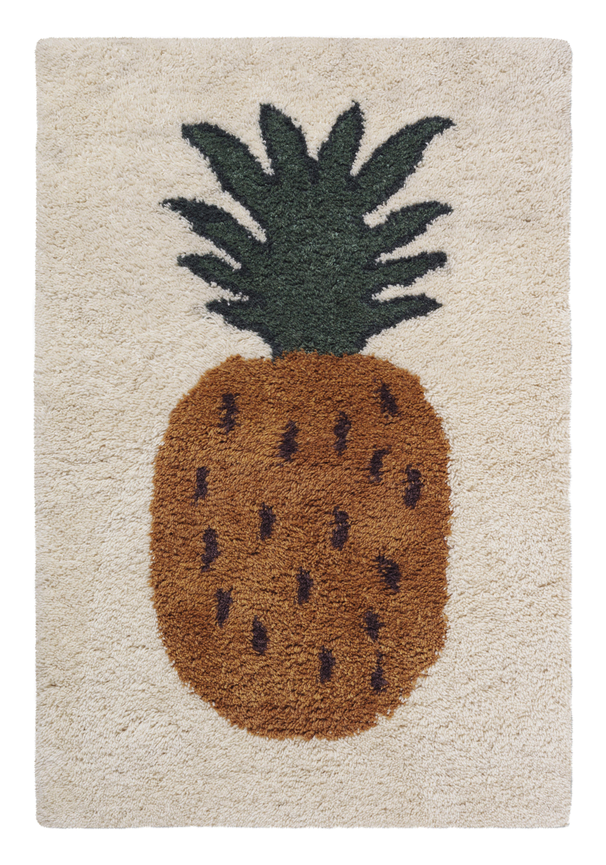 Möbel - Möbel für Kinder - Fruiticana - Ananas Teppich / groß - handgewebt - Ferm Living - Ananas - Baumwolle, Wolle