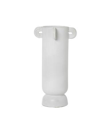 Decoration - Vases - Muses - Calli Vase - / Ø 17 x H 31 cm by Ferm Living - Calli / White - Enamelled sandstone