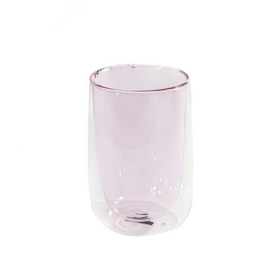 Arts de la table - Tasses et mugs - Verre à thé Doppler / Double paroi isolante - Fundamental Berlin - Rose - Verre soufflé à la main