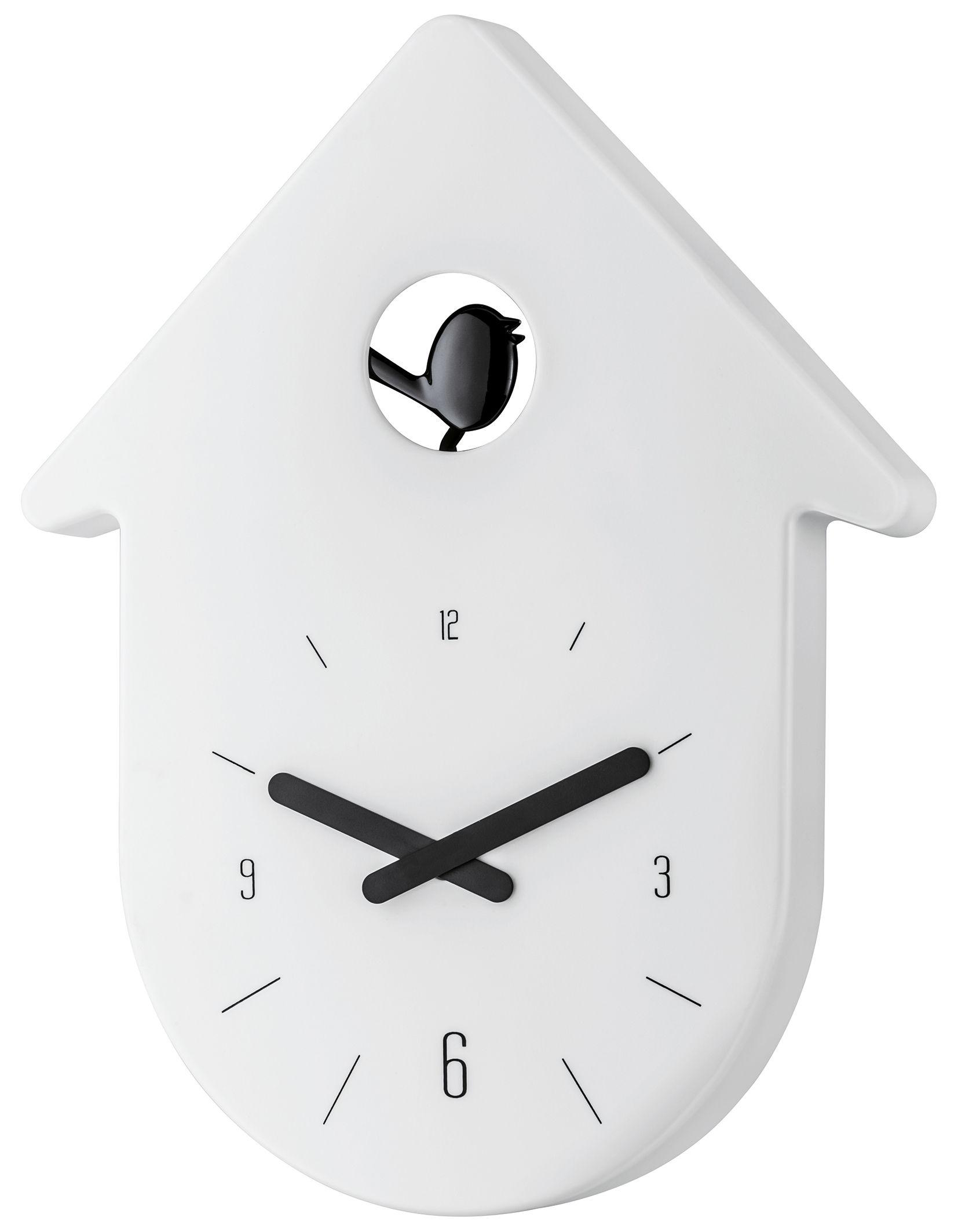 Dekoration - Uhren - Horloge murale Toc-Toc - Koziol - Cadran : blanc / Aiguilles : noir - Plastique recyclable
