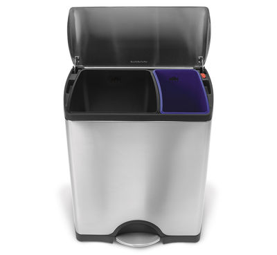 Kitchenware - Bins - Deluxe Recycle Waste bin - Recycle step can - 46 liters by Simple Human - Steel - 46 liters - Brushed stainless steel