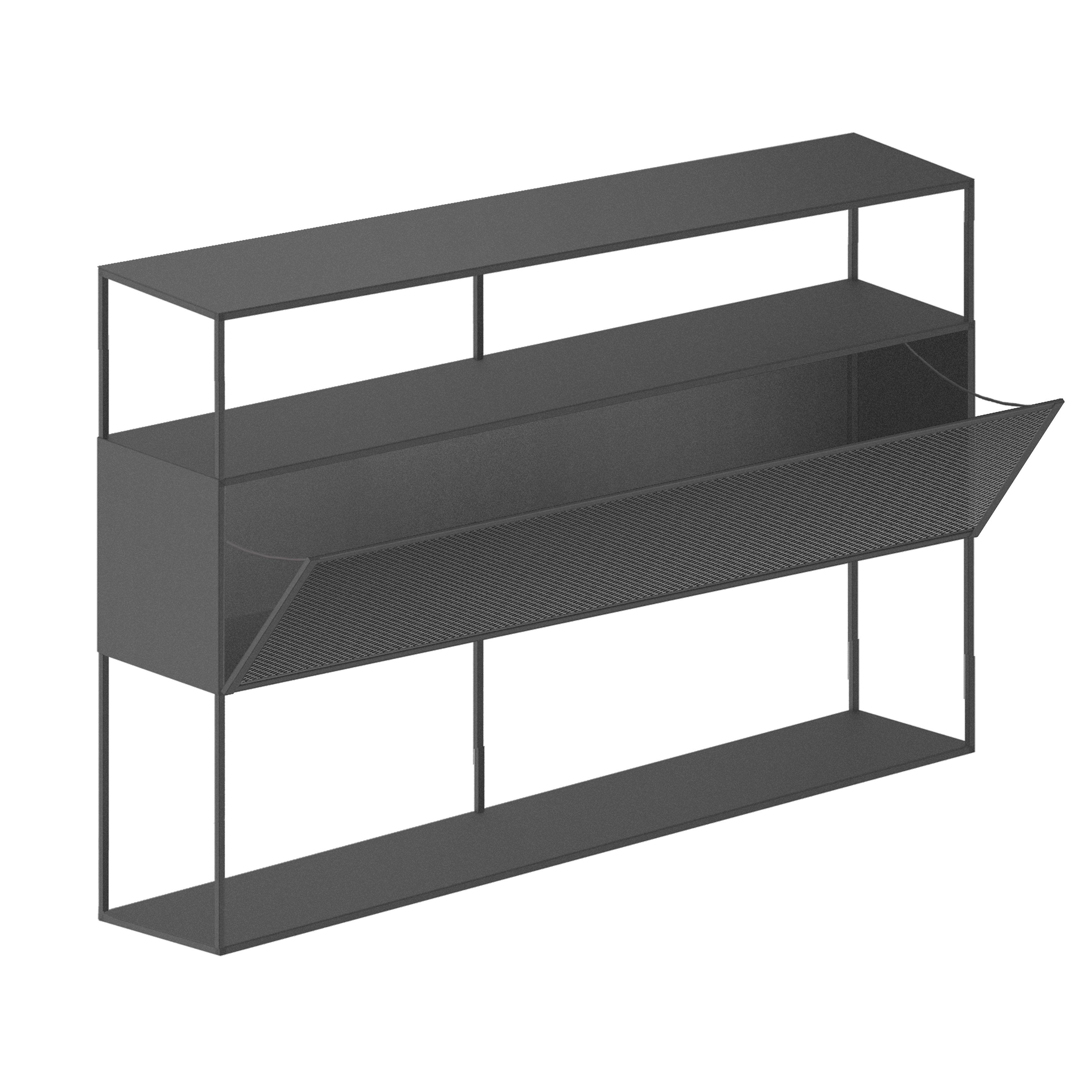 Möbel - Leuchtmöbel - Tristano Anrichte / Mit LED-Beleuchtung - L 150 x H 103 cm - Zeus - Glimmer-grau - Stahl