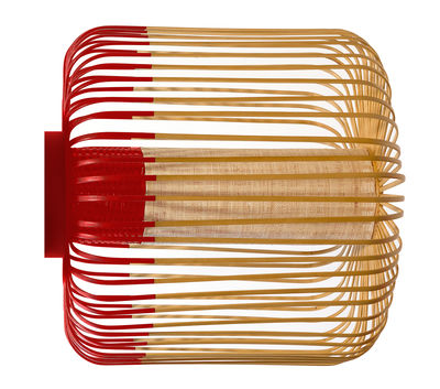 Applique Bamboo light M / Plafonnier - Ø 45 x H 40 cm - Forestier rouge,bambou naturel en tissu