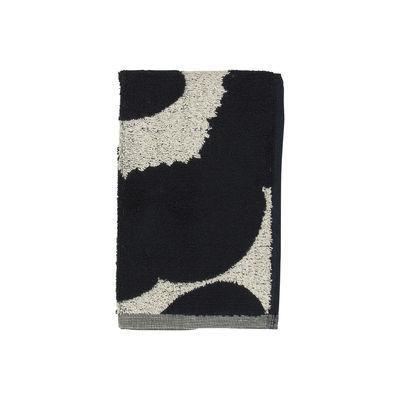 Accessori - Accessori bagno - Asciugamano Unikko - / 30 x 50 cm di Marimekko - Unikko / Beige cotone & Blu scuro - Cotone, Lino