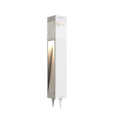 Borne d'éclairage solaire La Lampe Passage / H 60 cm - Hybride et connectée - Maiori blanc en métal