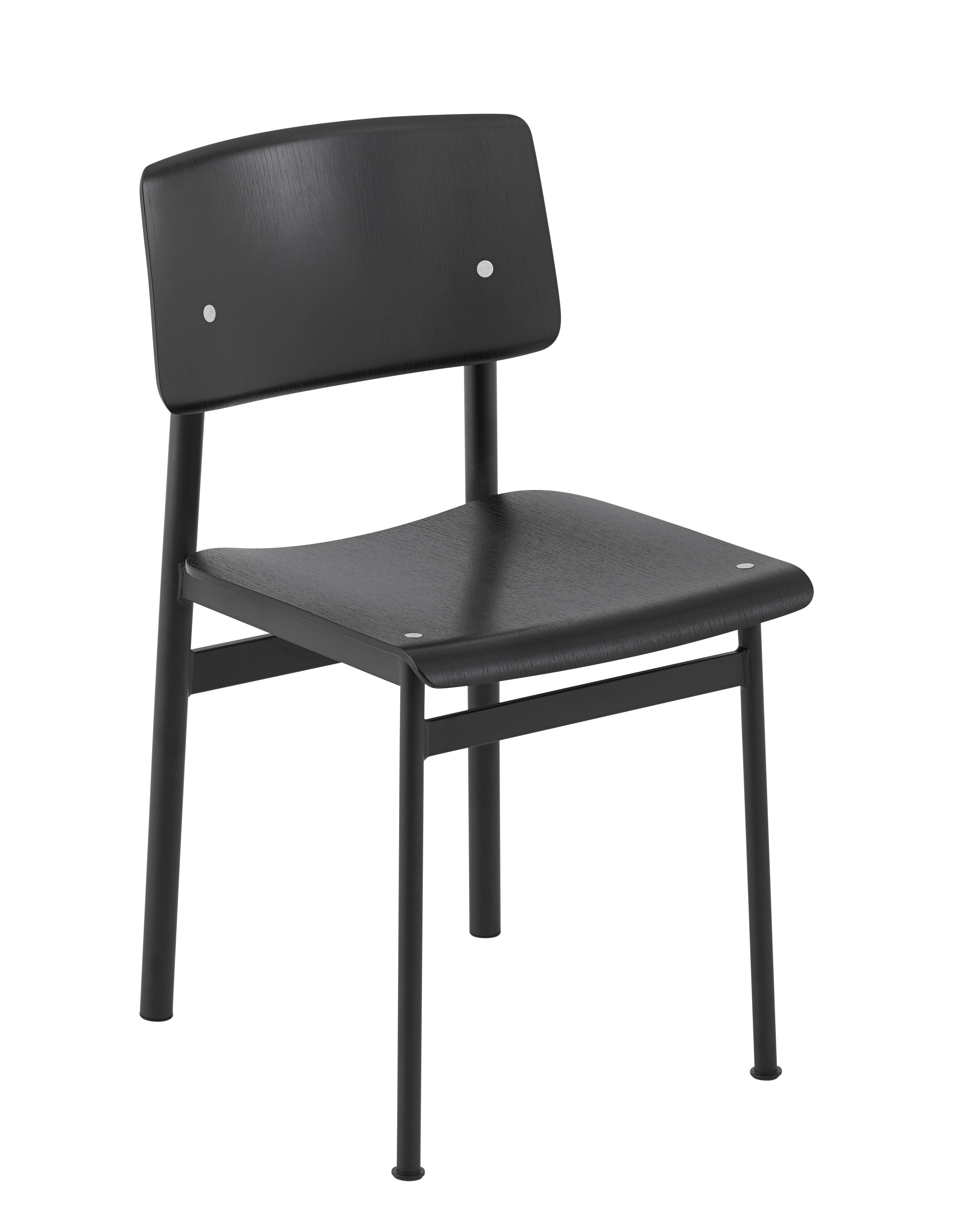 Furniture - Chairs - Loft Chair - / Wood & metal by Muuto - Black / Black - Epoxy lacquered steel, Tinted oak plywood