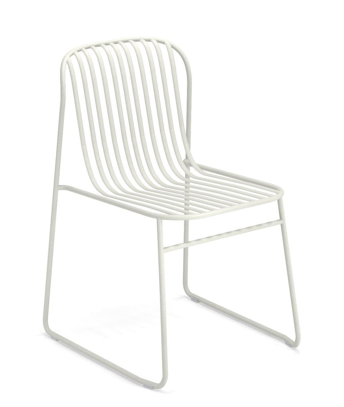 Mobilier - Chaises, fauteuils de salle à manger - Chaise empilable Riviera / Métal - Emu - Blanc - Acier verni