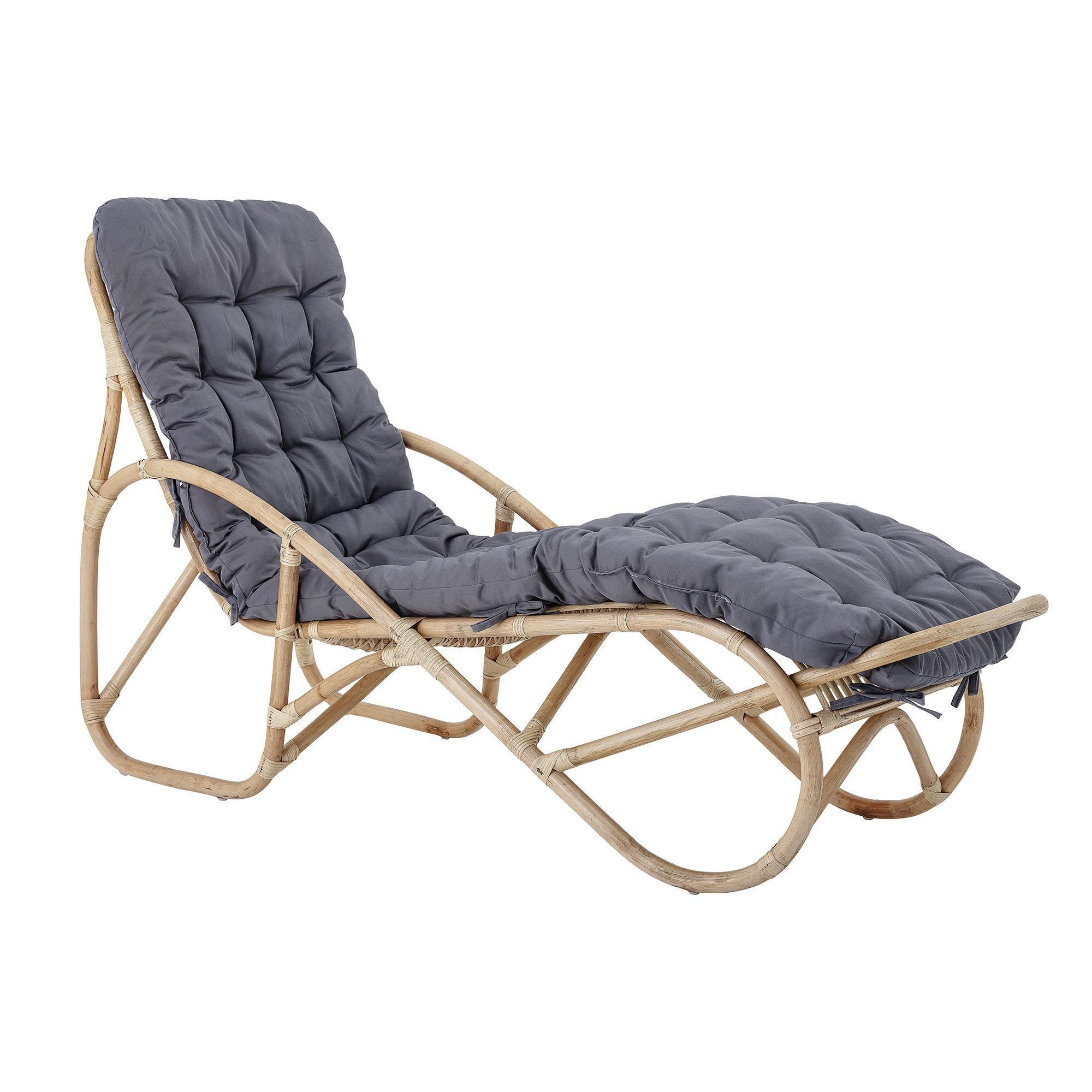 Outdoor - Chaises longues et hamacs - Chaise longue Costa / Rotin - Avec matelas - Bloomingville - Naturel / Matelas gris - Mousse, Rotin, Tissu