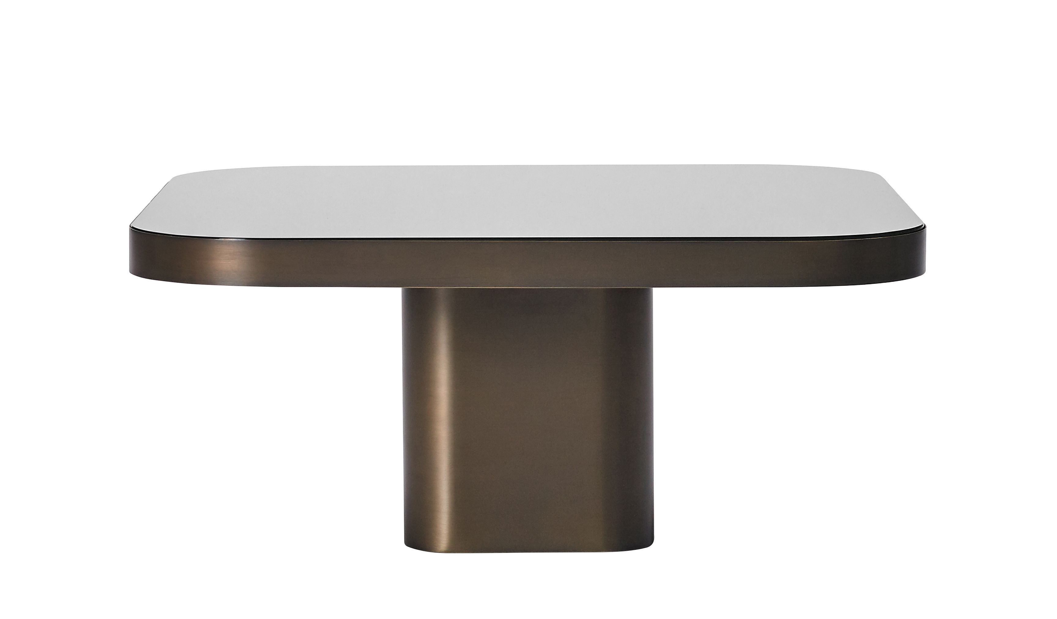 Furniture - Coffee Tables - Bow n°3 Coffee table - / 70 x 70 cm by ClassiCon - Burnished brass / Black tray - Brass, Glass
