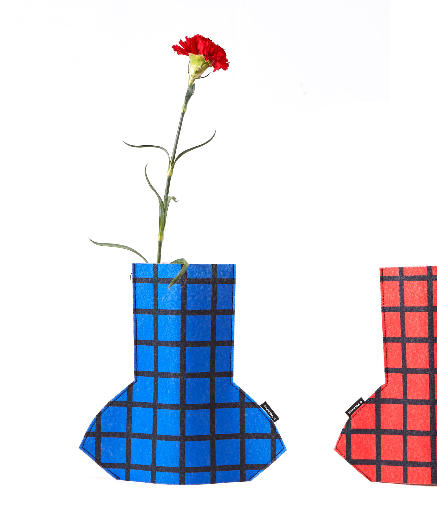 Interni - Vasi - Copertura per vaso Flower Power Small - / H 28 cm - Feltro di Sancal - Grid / Rosso & blu - Feltro