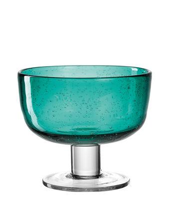 Arts de la table - Saladiers, coupes et bols - Coupelle Burano / à pied - Ø 12 x H 10 cm - Leonardo - Bleu vert lagune - Verre bullé