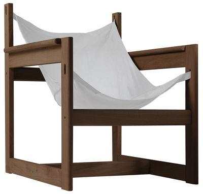 Mobilier - Fauteuils - Fauteuil Pelicano - Objekto - Structure noyer / Housse coton Écru - Coton, Noyer